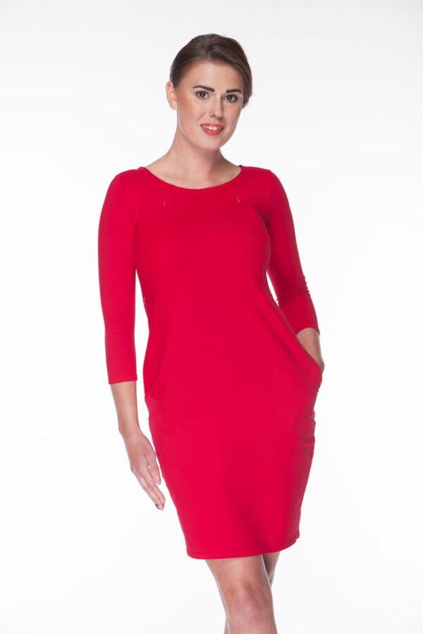Sukienka do karmienia i ciążowa Milky Way, rękaw 7/8, rozmiar M, karminowa czerwień, Milk&Love