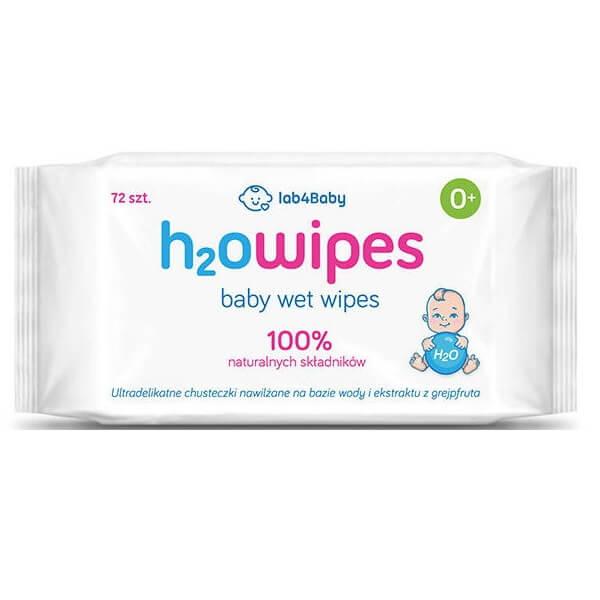 H2O wipes, wodne chusteczki, Produkt POLSKI, chusteczki nawilżane wodą, 100% naturalnych składników, 72 szt.