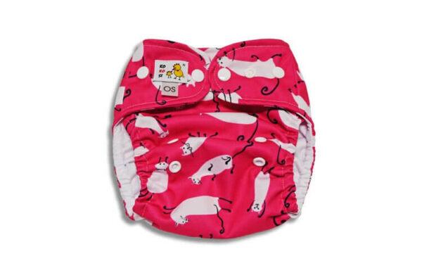 Pielucha kieszonka PUL One Size Kotki na różowym coolmax - przeszycia, KOKOSI