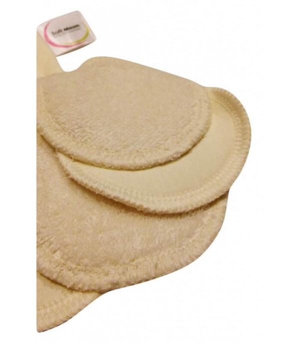 Wielorazowe płatki, waciki kosmetyczne, Niebielone, bawełna organiczna i frota bawełniana, 5szt+woreczek, Soft Moon