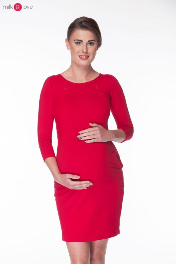 Tunika ciążowa i do karmienia, karminowa czerwień, rozm. M, rękaw 7/8 Milk&Love