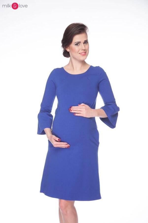Sukienka do karmienia i ciążowa MilkA, rozmiar S, rękaw 7/8 ciemnoniebieska, Milk&Love