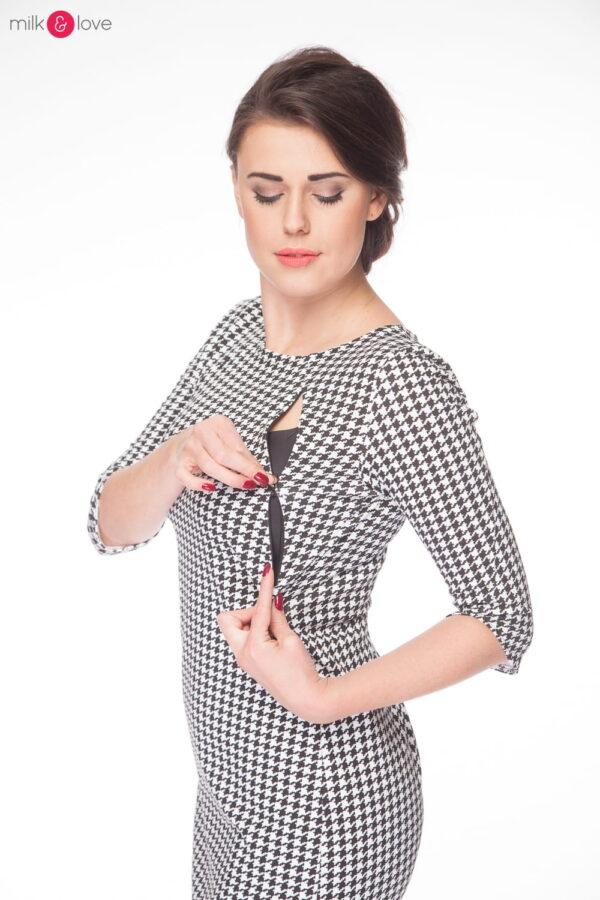 Sukienka do karmienia Milky Dress, rękaw 3/4, rozmiar M, pepitka, Milk&Love