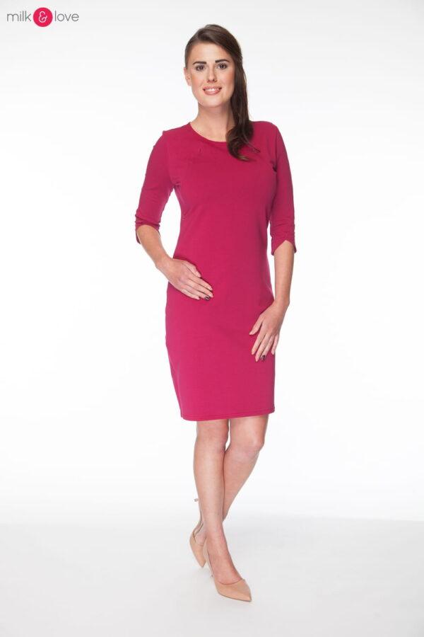 Sukienka do karmienia Milky Dress, rękaw 3/4, rozmiar M, bordowa, Milk&Love