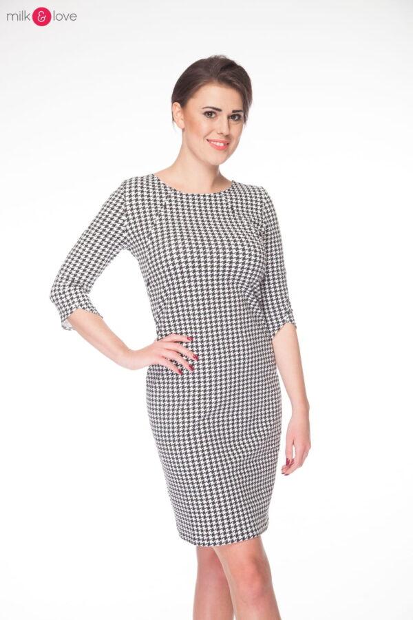 Sukienka do karmienia Milky Dress, rękaw 3/4, rozmiar S, pepitka, Milk&Love