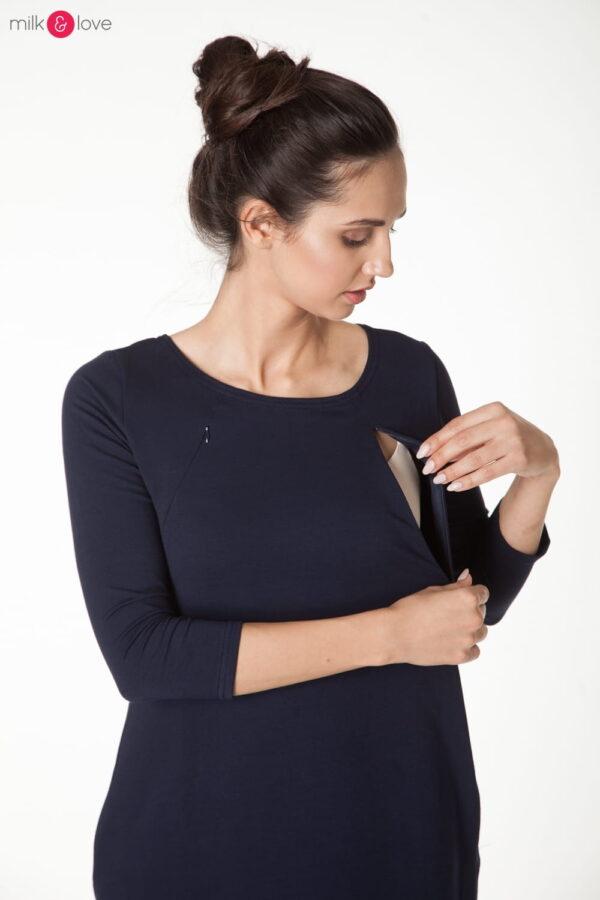 Sukienka do karmienia i ciążowa Milky Way, rękaw 7/8, rozmiar M, granat Milk&Love