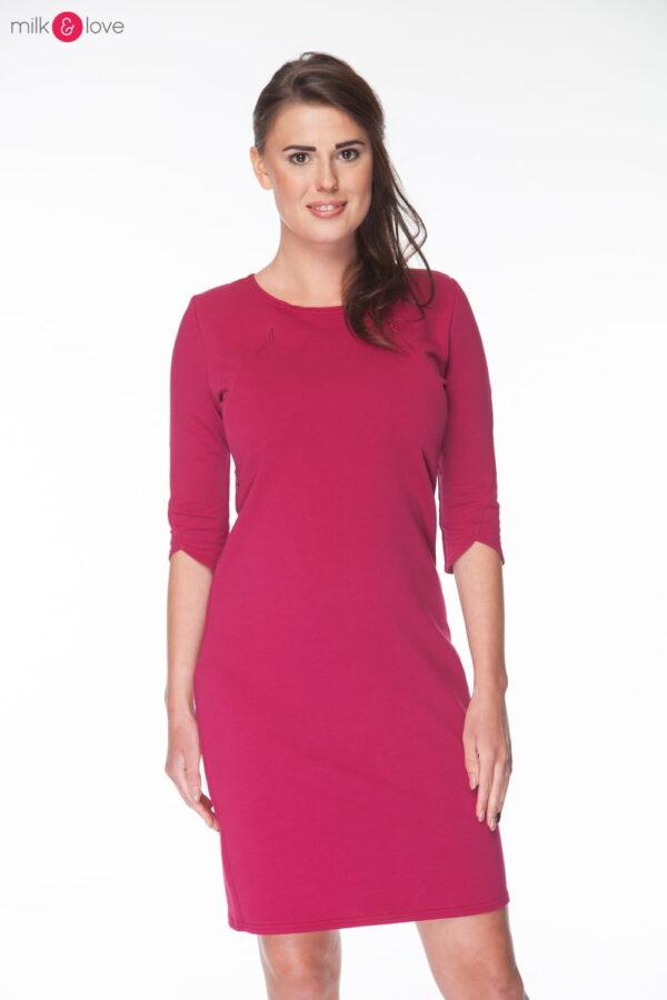 Sukienka do karmienia Milky Dress, rękaw 3/4, rozmiar S, bordowa, Milk&Love