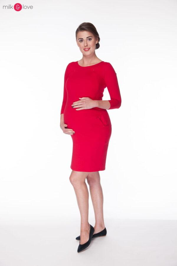 Tunika ciążowa i do karmienia, karminowa czerwień, rozm. S, rękaw 7/8 Milk&Love