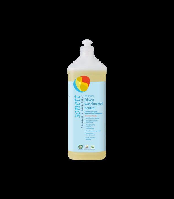 Płyn do prania wełny i jedwabiu, 1litr, SENSITIV, z mydłem z bio oliwki z oliwek, dla alergików, Sonett