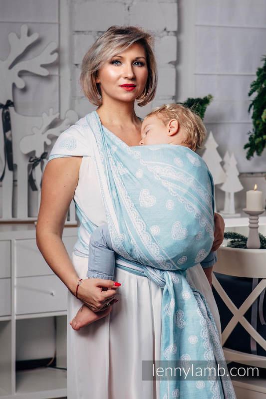 Żakardowa chusta do noszenia dzieci, 60% Bawełna 28% Len 12% Jedwab Tussah - Arktyczna koronka - rozmiar M, Lenny Lamb