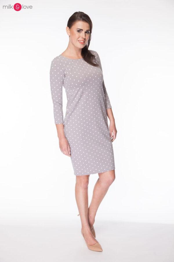 Sukienka do karmienia i ciążowa Milky Way, rękaw 7/8, rozmiar M, szara w kropki, Milk&Love